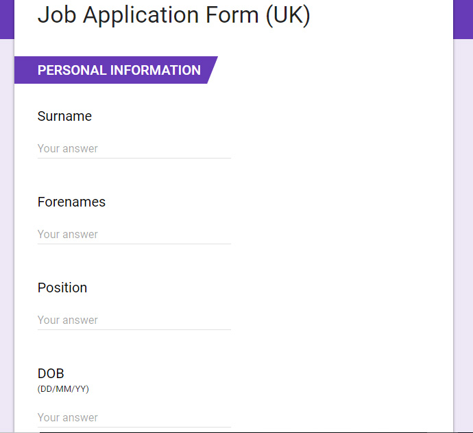 Job Application Form (UK)