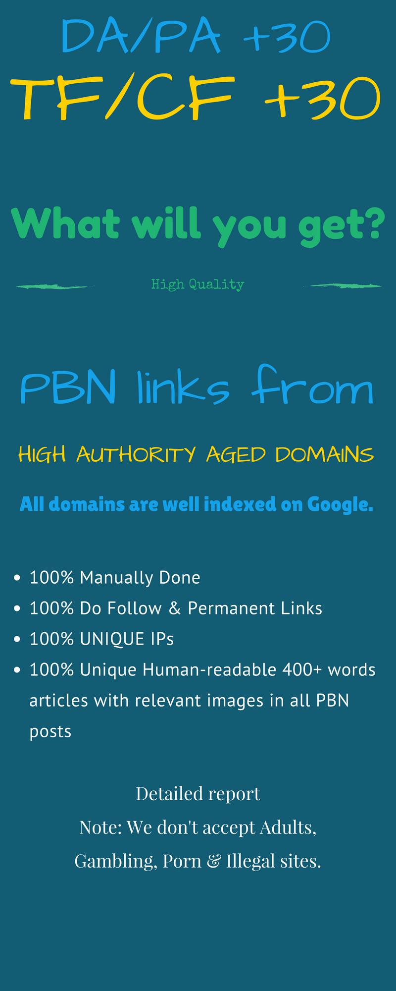 1 PBN Backlink High DA/PA +25 OR TF/CF +30