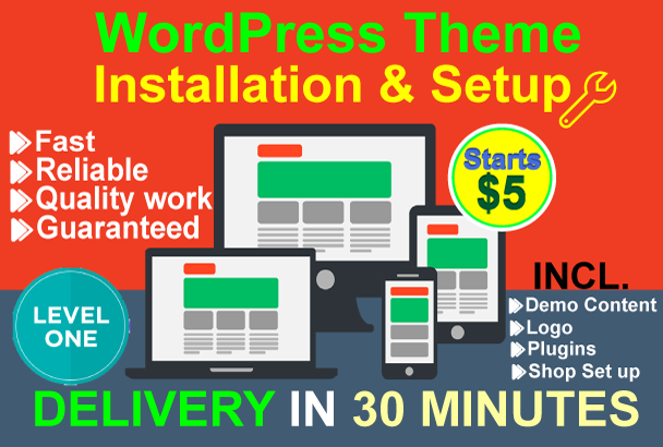 I will install WordPress, WordPress theme setup as l...