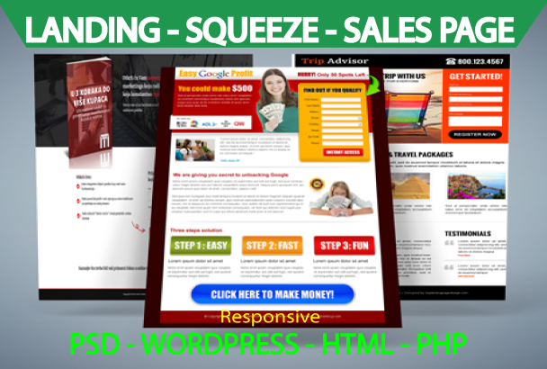 I can Design a Superb Landing Page Or Squeeze Page