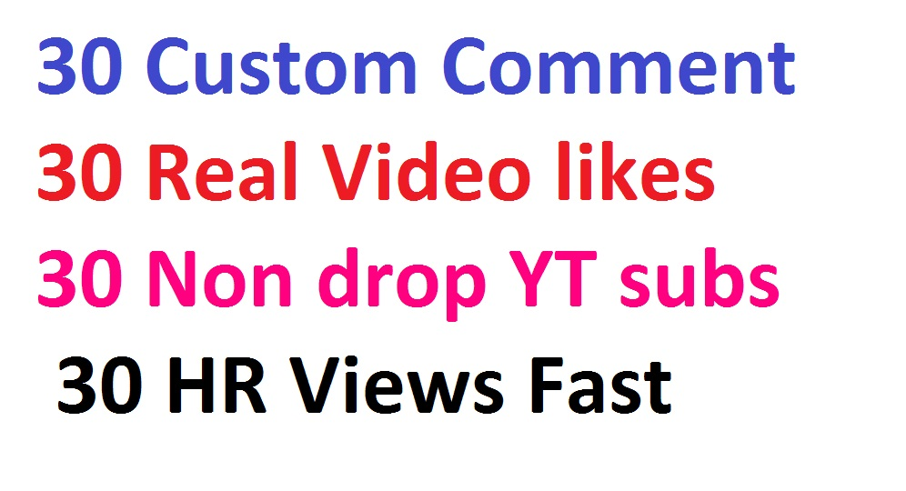 Safe & Fast 30 Custom Co*mm*ent, 30 Real Li**kes, 30  Non drop YT subs, 30 HR Vie**ws
