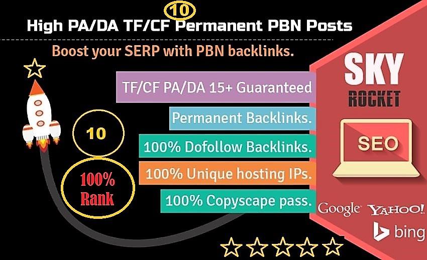 Get Fast Manually 50 High PA/DA TF/CF Homepage PBN Backlinks