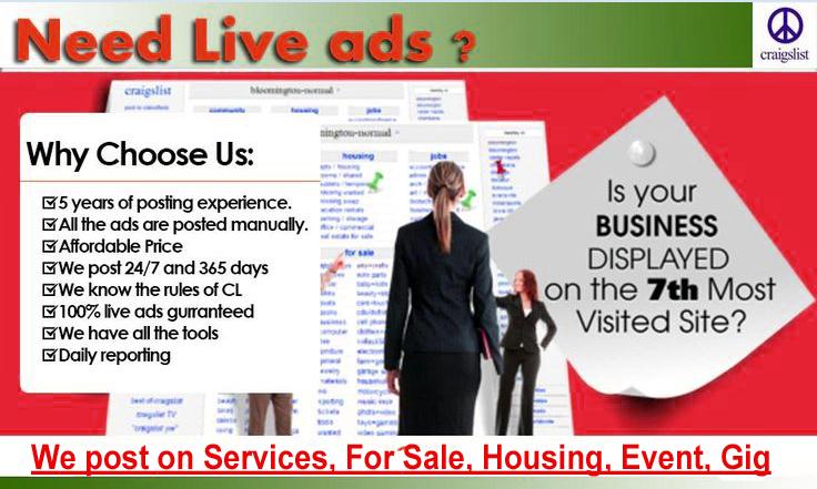 Craigslist ad posting in USA Sites $10