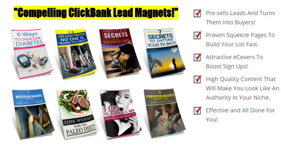 Get 8 of the hottest lead magnets on clickbank that are profitable in plr