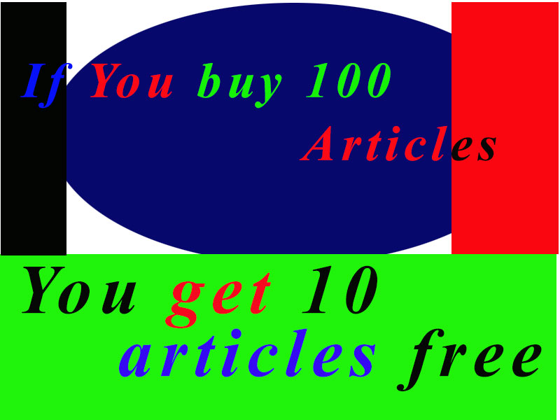 Buy 100 Articles and get free 10 Articles