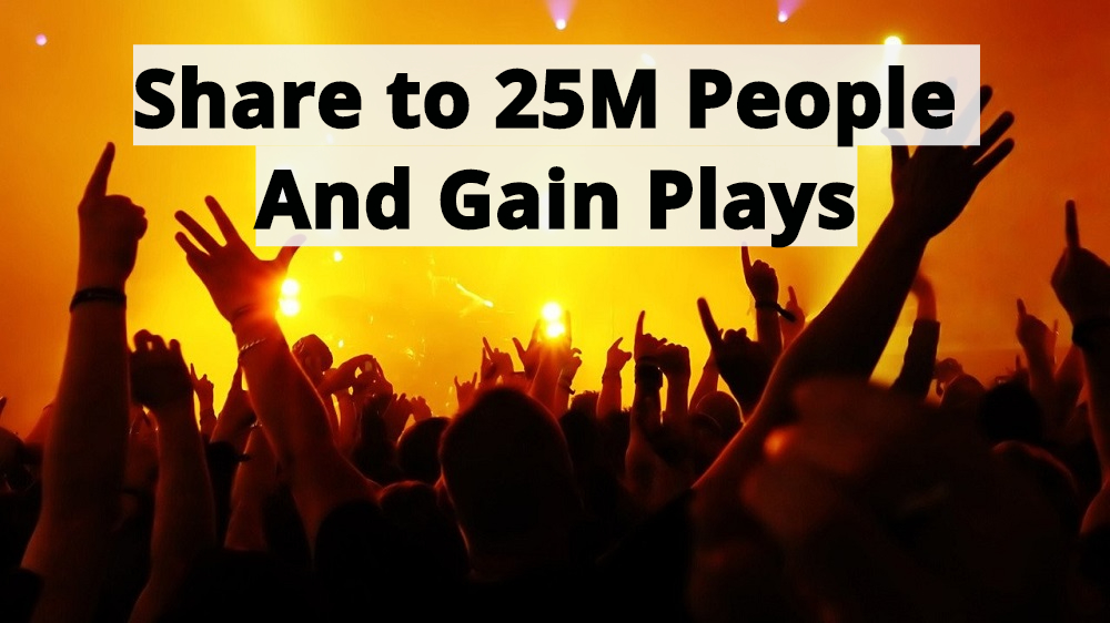 Share to 25M People on Different Communities and daily 3000 S0undCloud Listeners