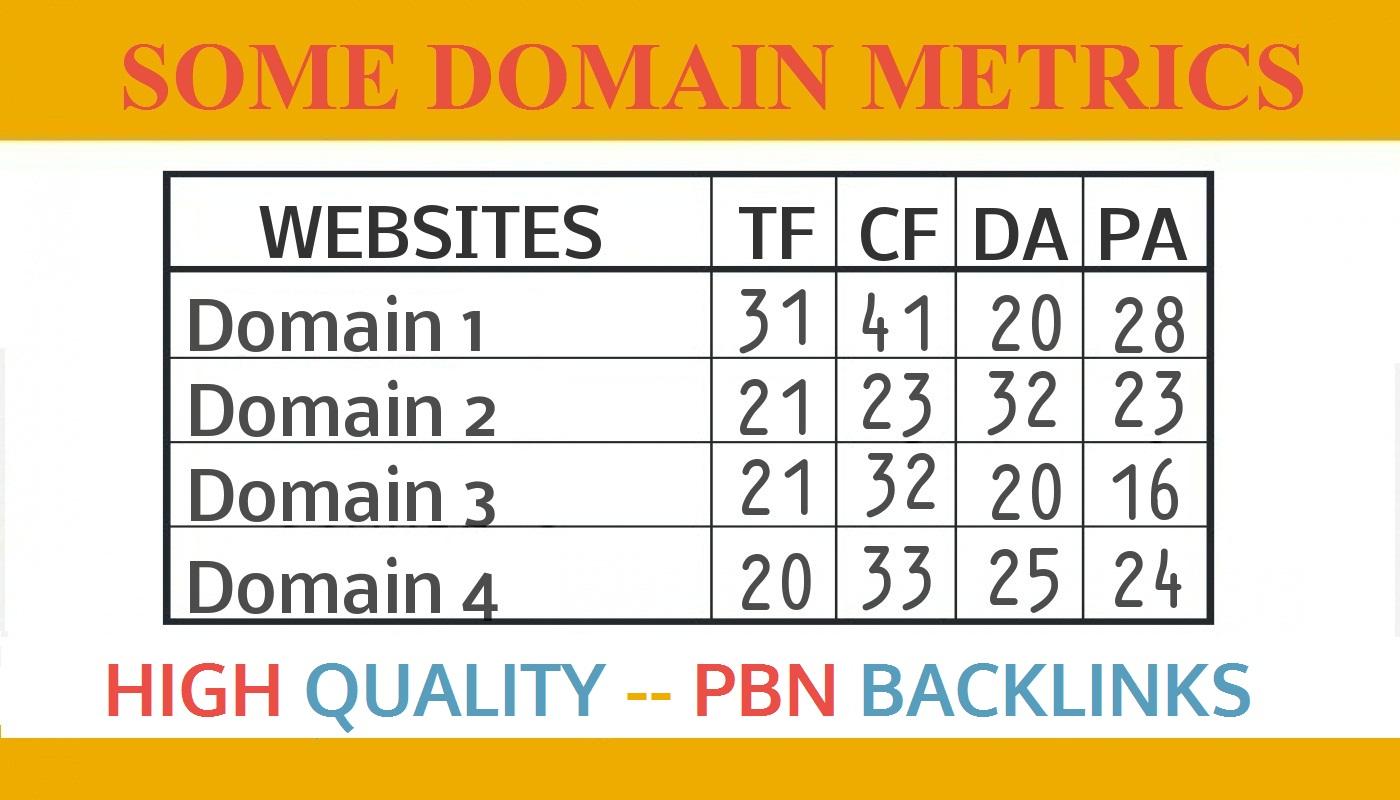 Create 10 High DA TF Homepage PBN Backlinks