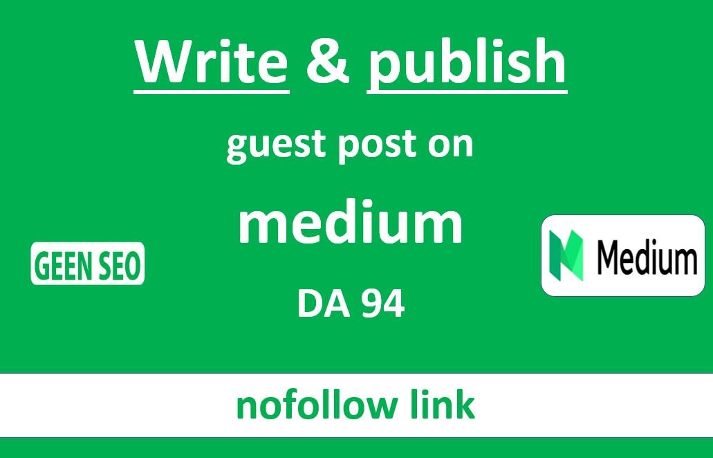 Write and publish guest post on medium DA94