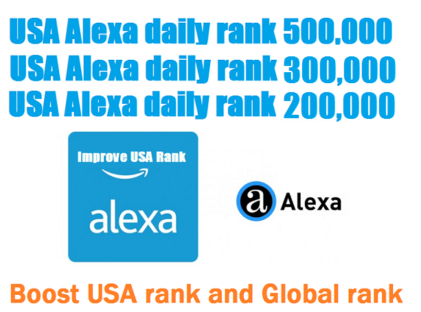 Boost USA Alexa Daily Rank 500,000 1 month