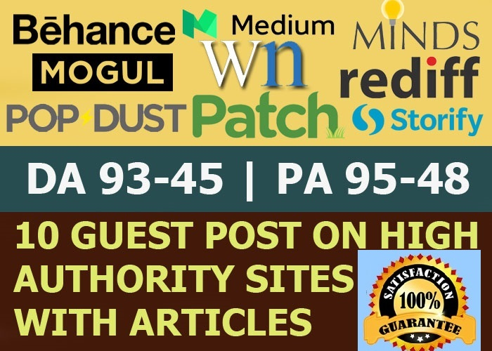 Write and Publish Guest Post on 10x High Authority DA90 PA85 TF76 Backlinks,  From Real Sites