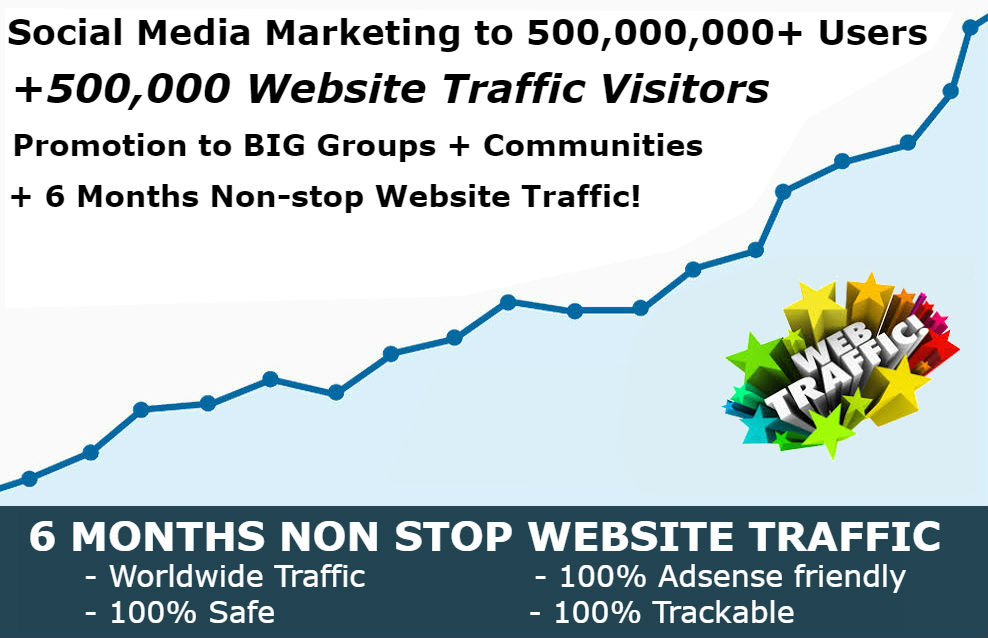 500,000,000 Social Media Marketing and 500,000 Website Traffic Explosion service