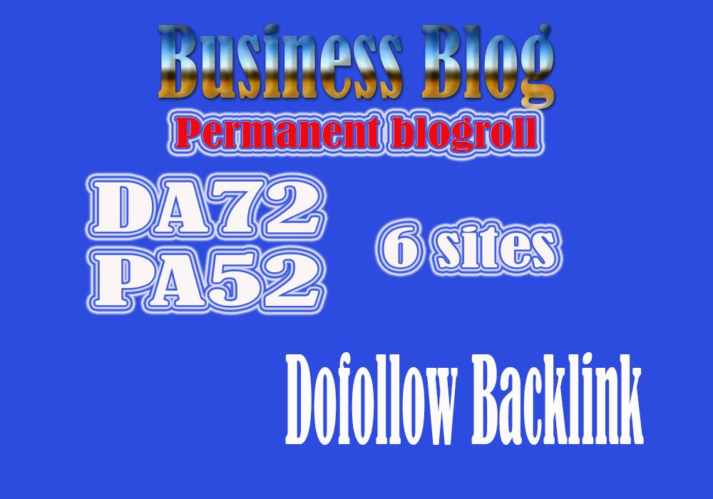 Give 6 Site business Blog Da72 For Backlinks