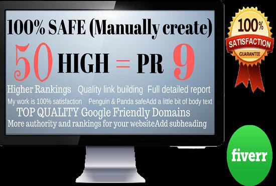 Manually Create 50 High Pr9 SEO Backlinks