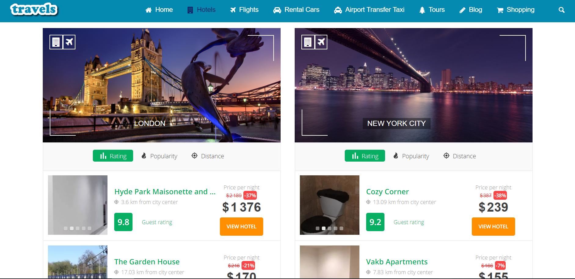 Travel affiliate website design