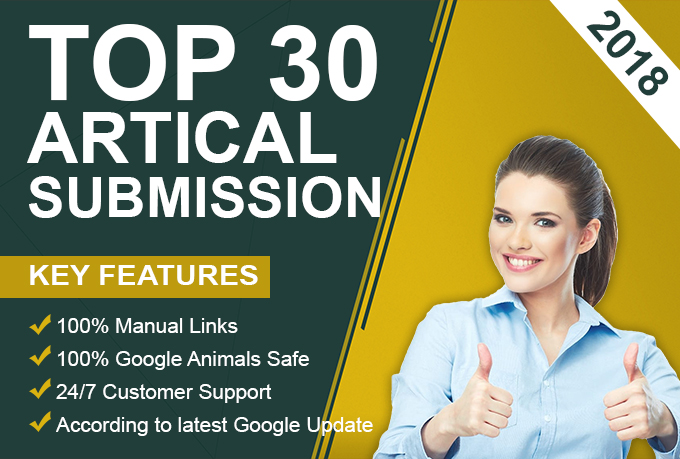"""""""i will """" provide 30 Artical Submission on high da 100 sites"""
