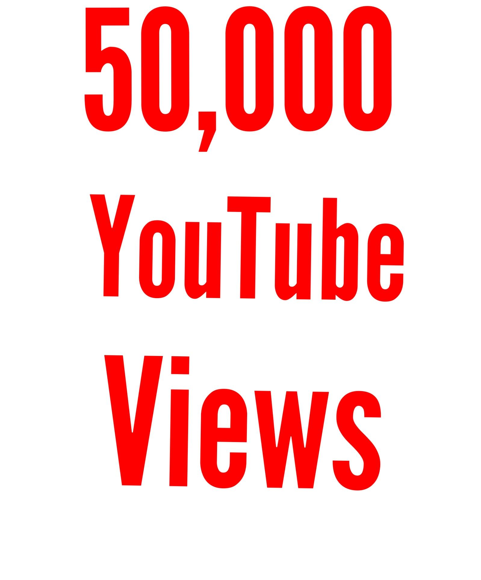 50,000 You Tube vie ws Lifetime nondrop guaranteed split link available