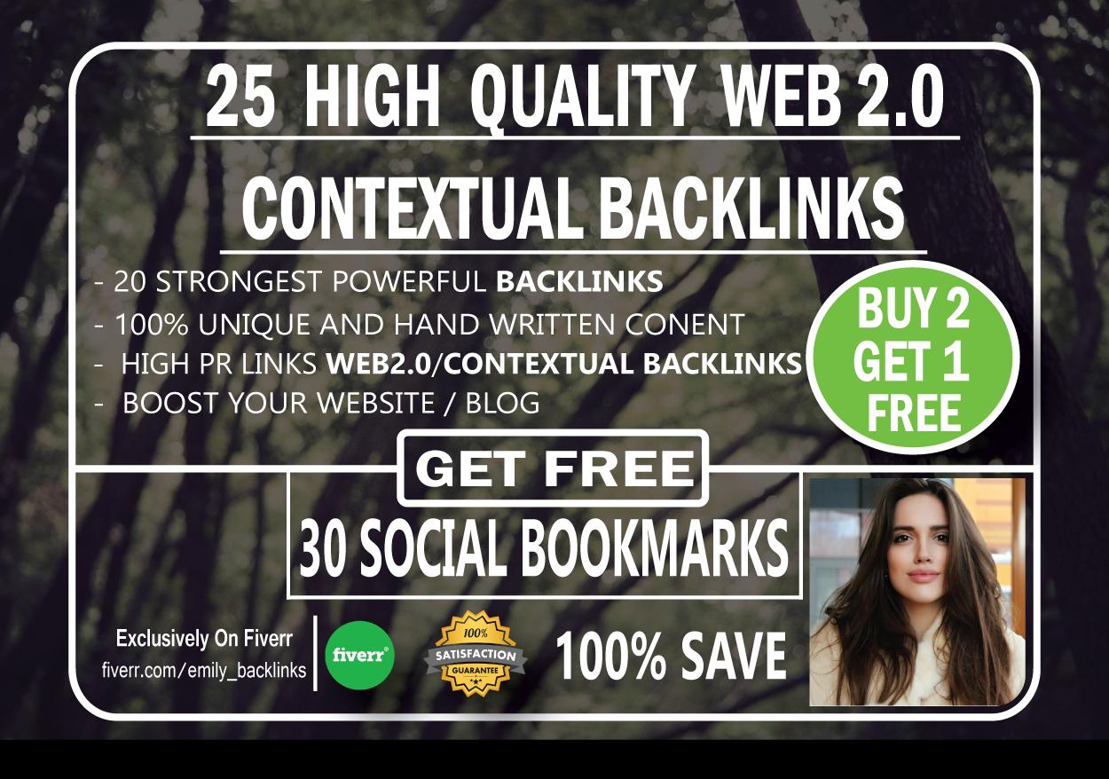 25 High Quailty Web 2.0 Contextual backlinks