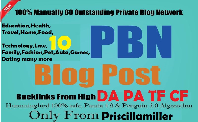 write and post 10 Manual HIGH TF CF DA PA 30+ to 50 Dofollow Backlinks
