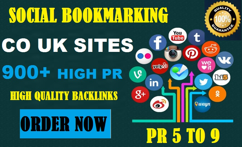 900+ Social Bookmarks HQ .CO.UK - Add your site URL AND Yutube URLto high quality Bookmarks backlinks