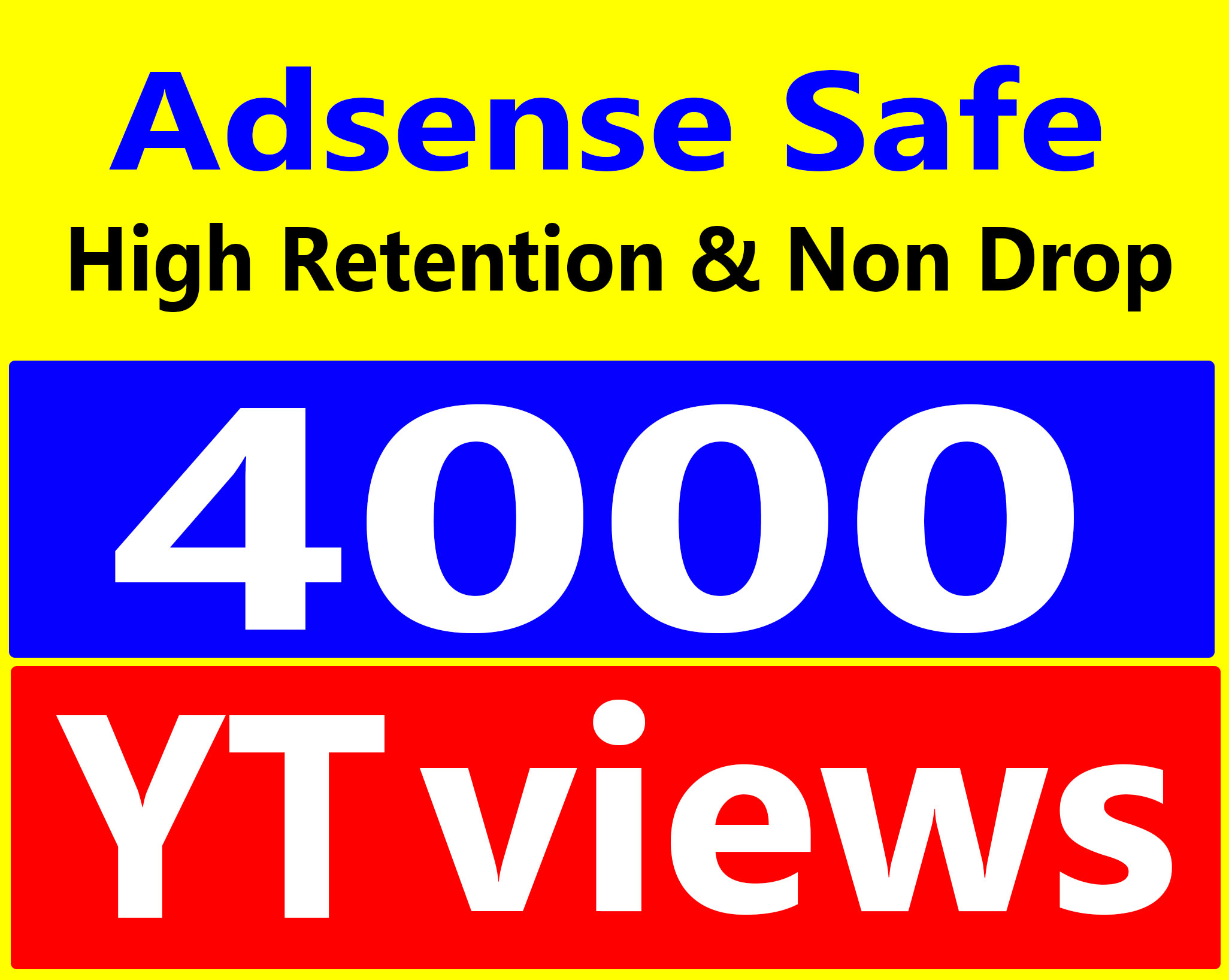 Fast 3000 To 4000 Views High Retention 90-100% Ad-sense Safe & Non Drop Service