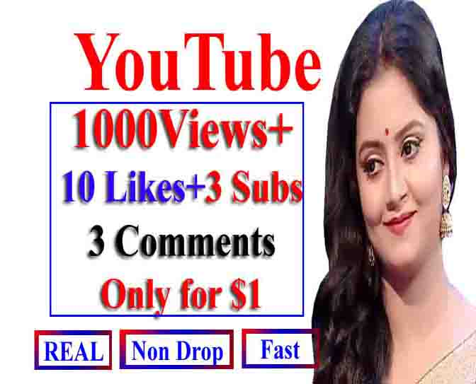 Do You_tube 1000 Views+ 10 LIkes+ 3Comments+ 3 Subs fast