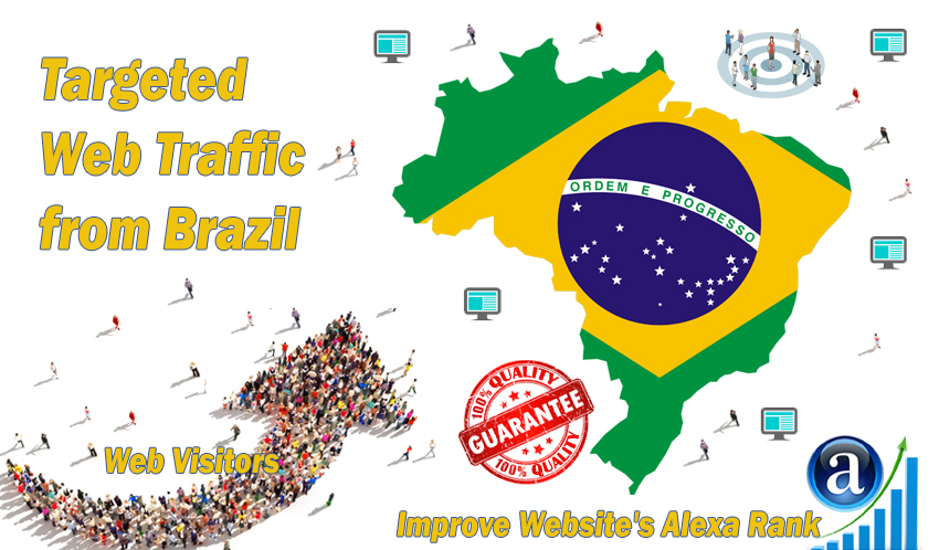 Send 25000 Brazil web visitors real targeted geo traffic