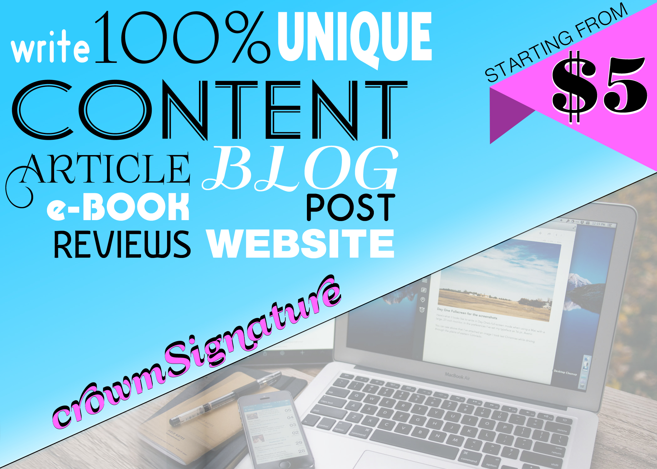 Write 500 - 1500 words ARTICLE, CONTENT, COPYWRITE for your Blog/SITE/PRODUCT&SERVICE