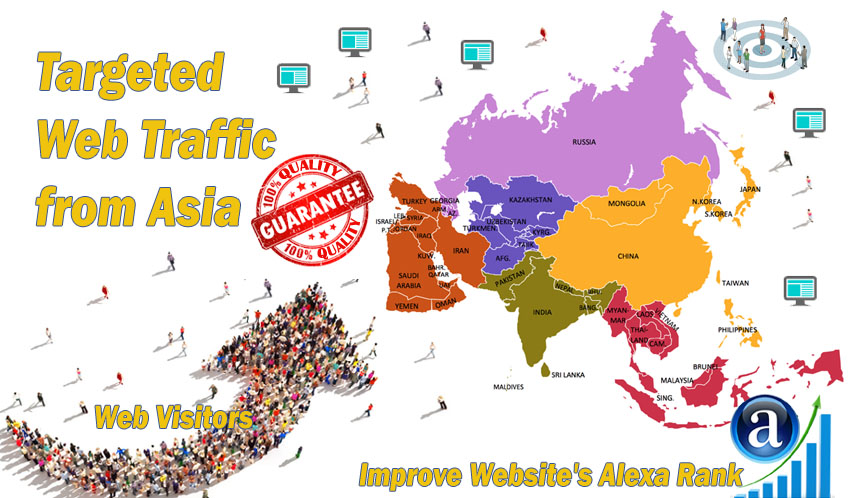 Send 25000 Asia web visitors real targeted geo traffic