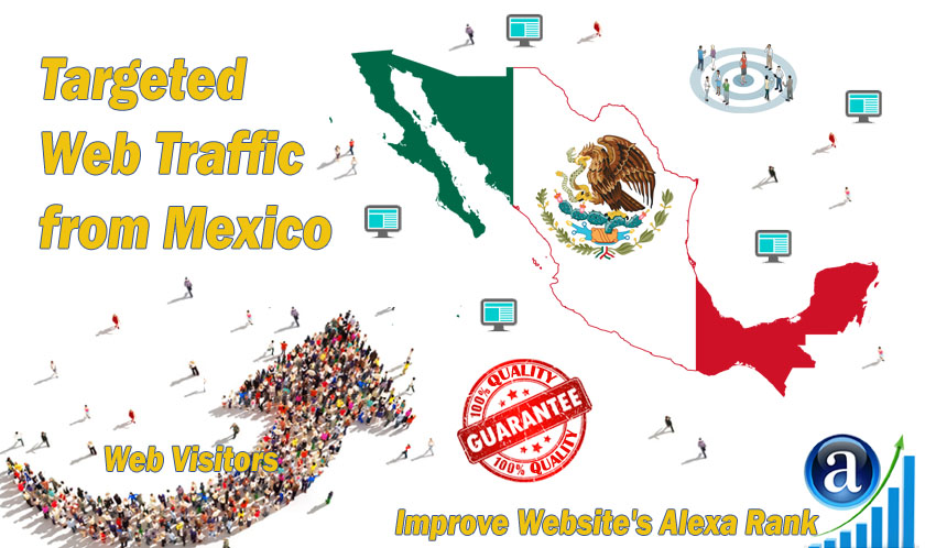 Send 25000 Mexico web visitors real targeted geo traffic