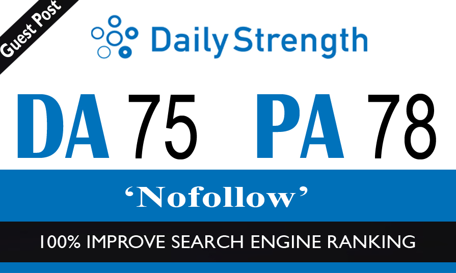 High Authority No-Follow Guest Post on Dailystrength DA-75