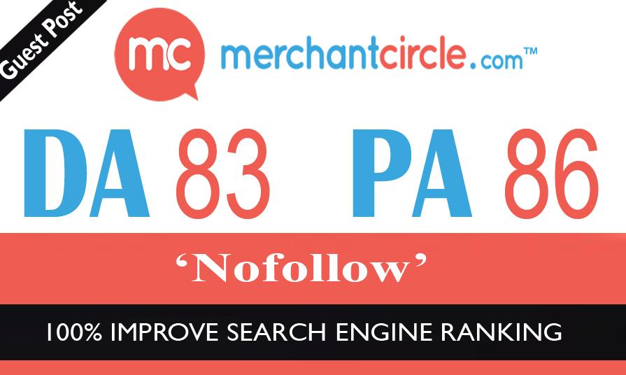 High Authority No-Follow Guest Post on Merchantcircle DA-83