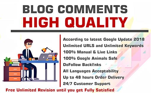 Do 120 blogcomments backlinks high da pa sites
