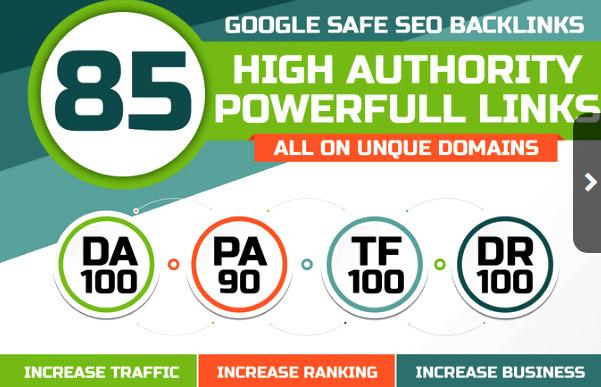Get 85 Unique Domain SEO Backlinks On DA 40 to Da100 Sites
