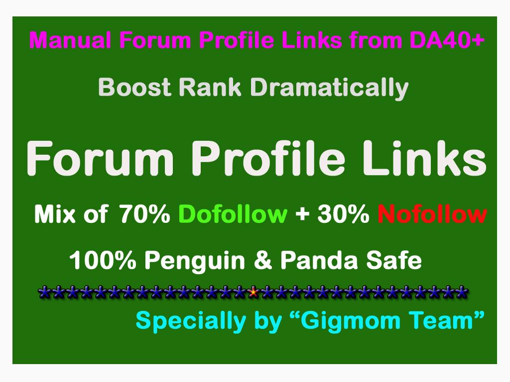 Manual 400 Dofollow & Nofollow Forum Profile Links from DA40+ to Boost Rank
