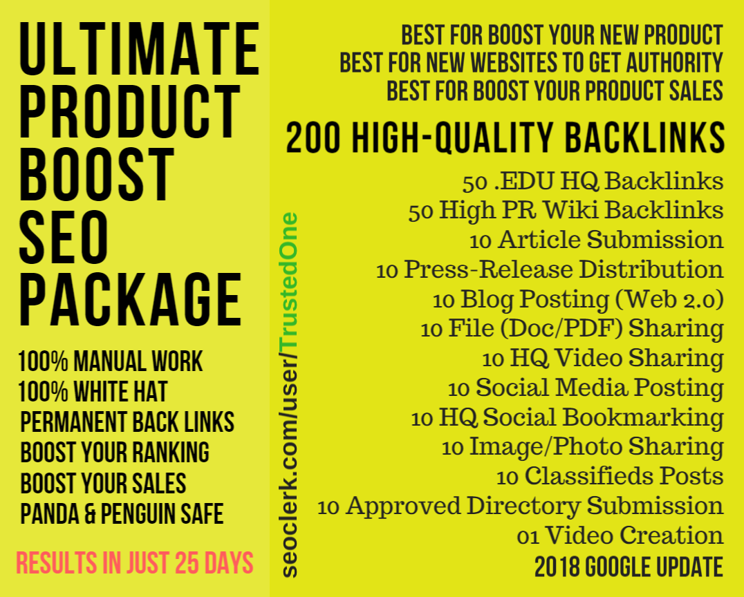 200 High-Quality Back-links from 12 Platforms - Ultimate Product Boost SEO Package - All in One SEO  - Page Rank Booster