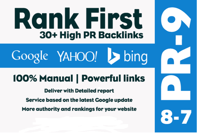 High Quality 30 Manual SEO Backlinks On High Pr9 First On Google