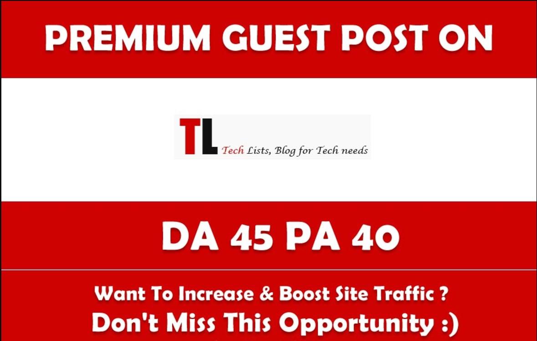 Write & Publish Guest Post on Tlists. Tlists. com - DA 45