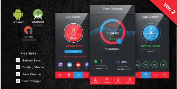 Fast Cleaner & Battery Saver with Admob Ads