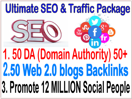 Google Safe SEO & SMM campaign- 50 PR9 DA Domain Authority Backlinks - 20 Web 2.0 blogs Backlinks-Promotion 12 Million Social people
