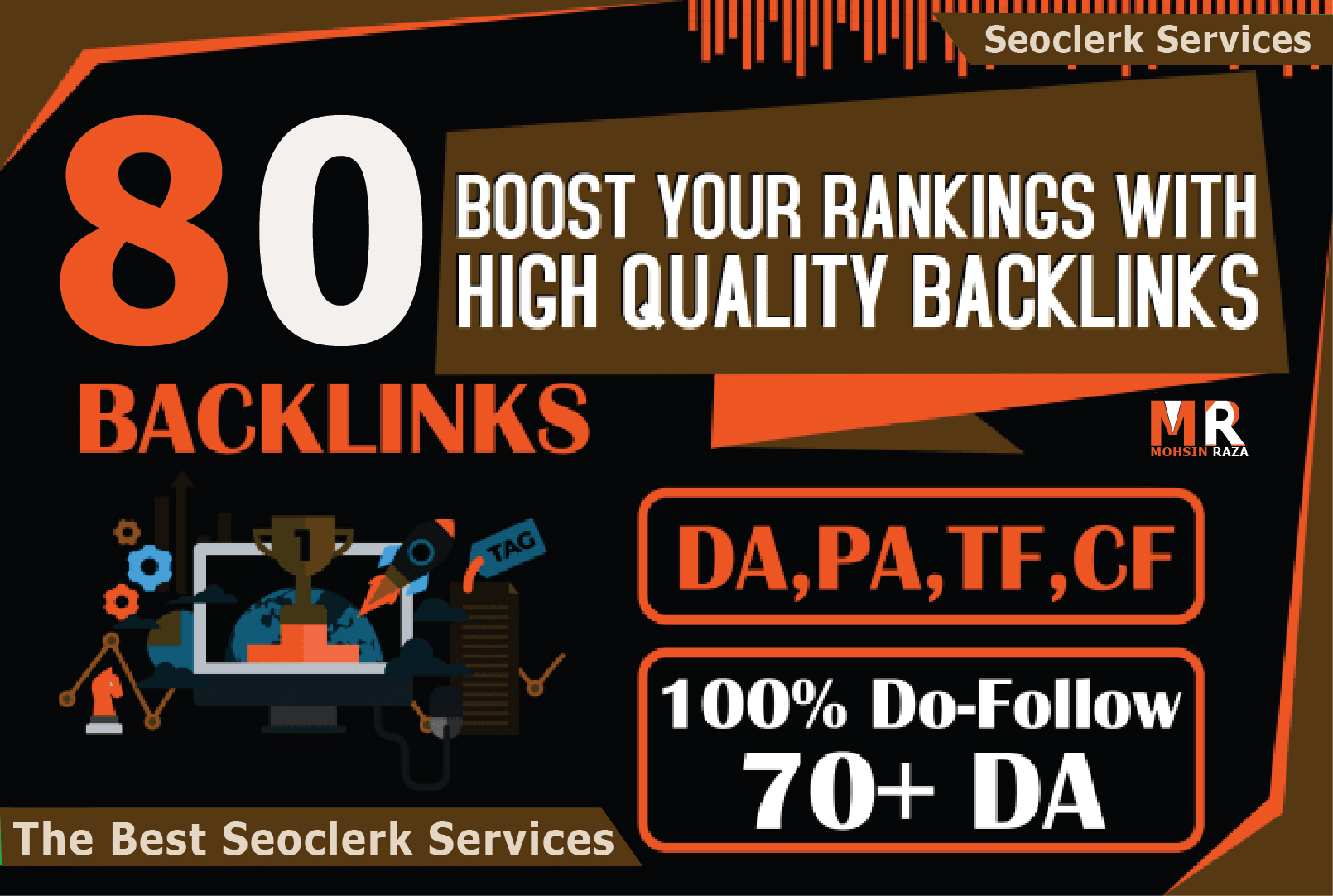 Manual 80 SEO Backlinks On Pr10, Da100, Tf100 Unique Domains