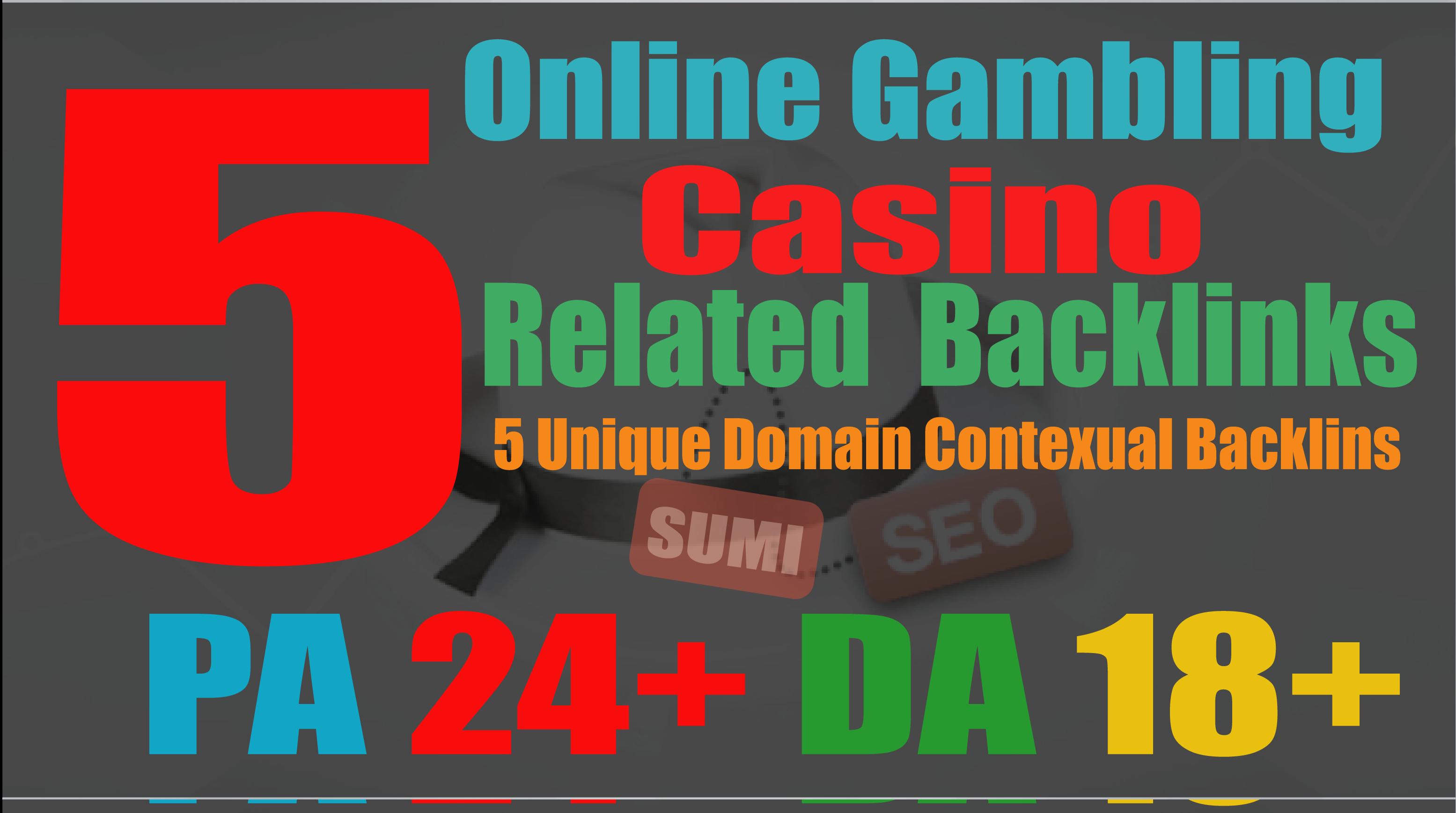 manually do 5 Casino PBN Backlinks from Gambling, Casino sites