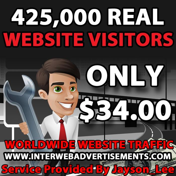 425K Web Traffic To Your Website, Blog or Affiliate Link
