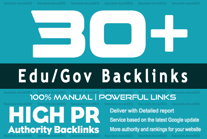 30+ Edu/Gov High Quality Backlinks