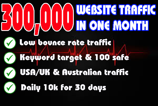 Drive 300000 low bounce rate website traffic