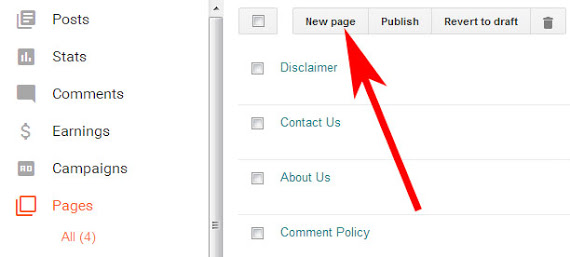 Create a page Contact us and private policy
