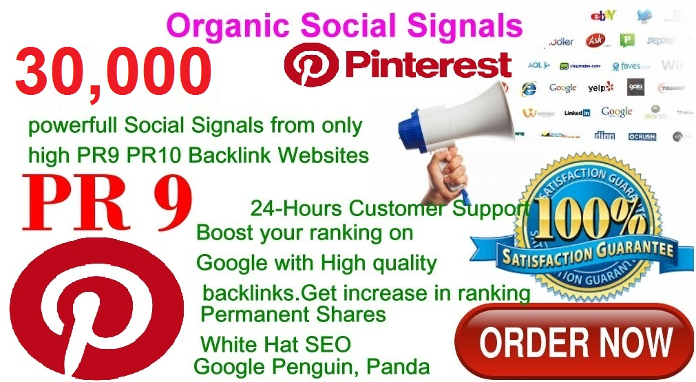 Rocket Delivery 30,000 Real High Quality Pinterest Share Social Signals PR9 No1 Social Media Bookmark to Improve SEO and Boost Web Ranking