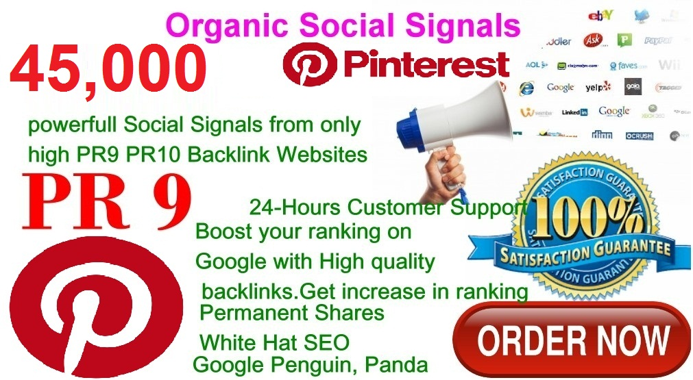Rocket Delivery 45,000 Real High Quality Pinterest Share Social Signals PR9 No1 Social Media Bookmark to Improve SEO and Boost Web Ranking