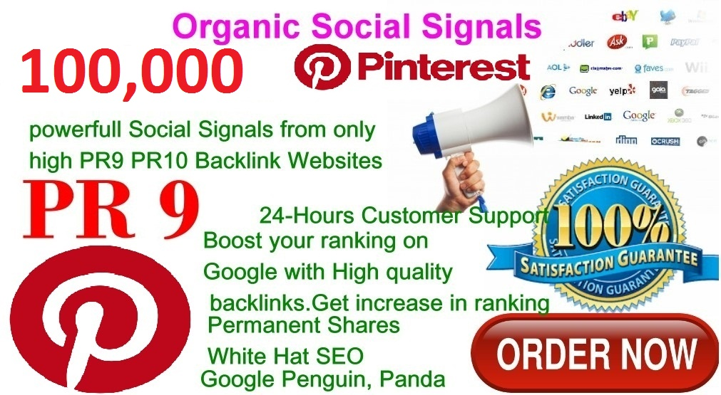 Rocket Delivery 100,000 Real High Quality Pinterest Share Social Signals PR9 No1 Social Media Bookmark to Improve SEO and Boost Web Ranking