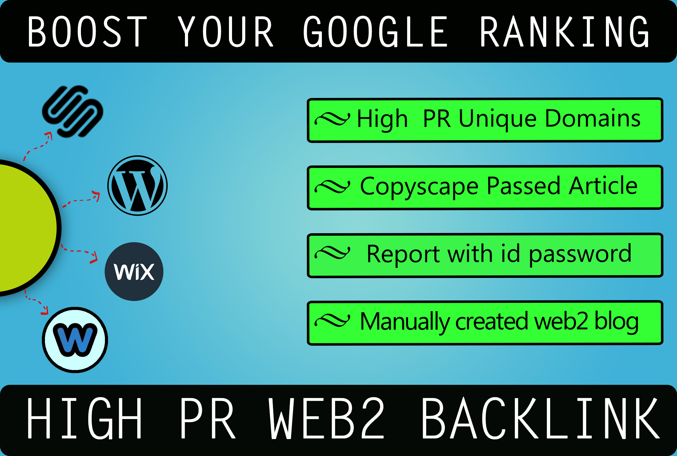 high PR web2 backlinks with article