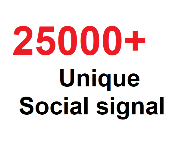 25000 Unique And High Quality Social SIgnal,High Ranking